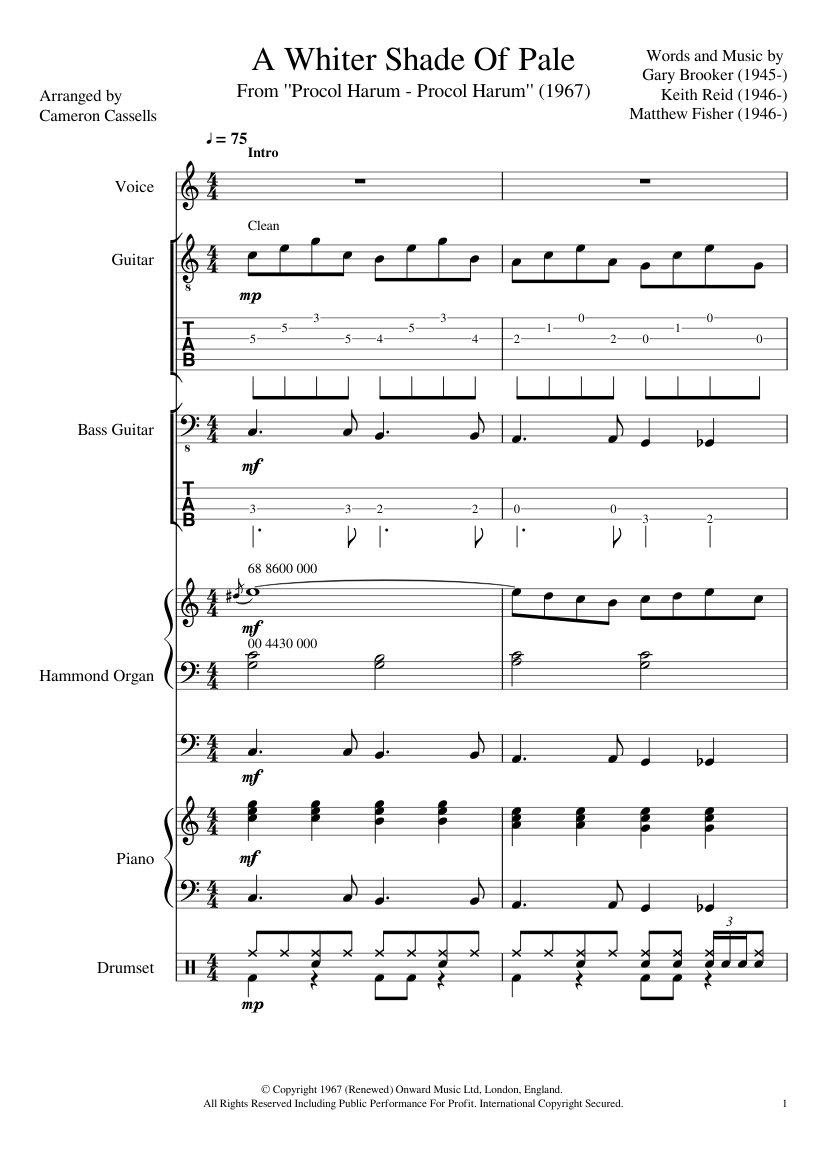 A Whiter Shade Of Pale Sheet music for Piano, Drum Group, Vocals ...