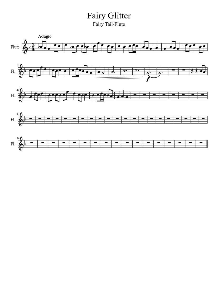 Fairy Glitter Incomplete Sheet Music Download Free In Pdf
