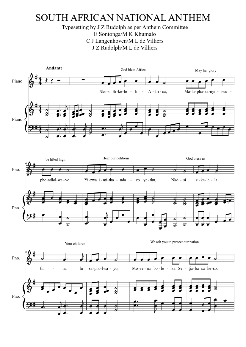 South African National Anthem Sheet Music For Piano Piano Duo