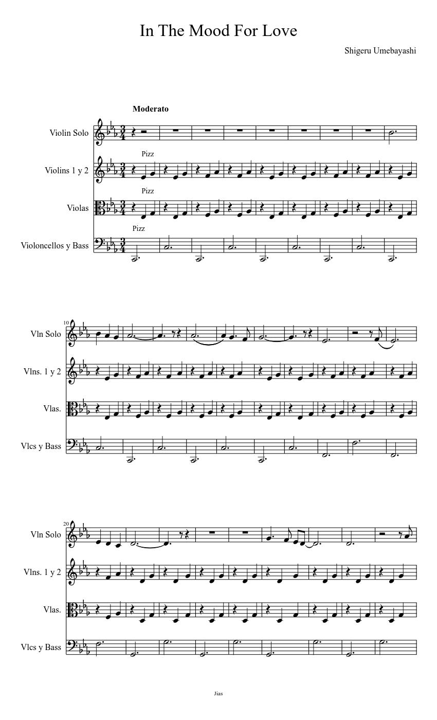 Yumeji S Theme In The Mood For Love Shigeru Umebayashi Sheet Music For Strings Group Mixed Quartet Musescore Com