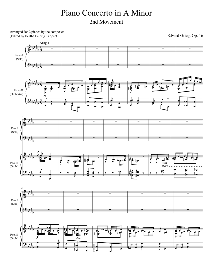 Piano Concerto In A Minor Op.16 2 Pianos Edvard Grieg Two Pianos Sheet Music