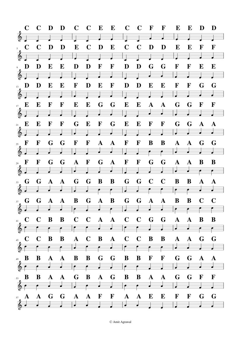 Janta Varisai Pattern 12 Sheet Music For Piano Solo Musescore Com