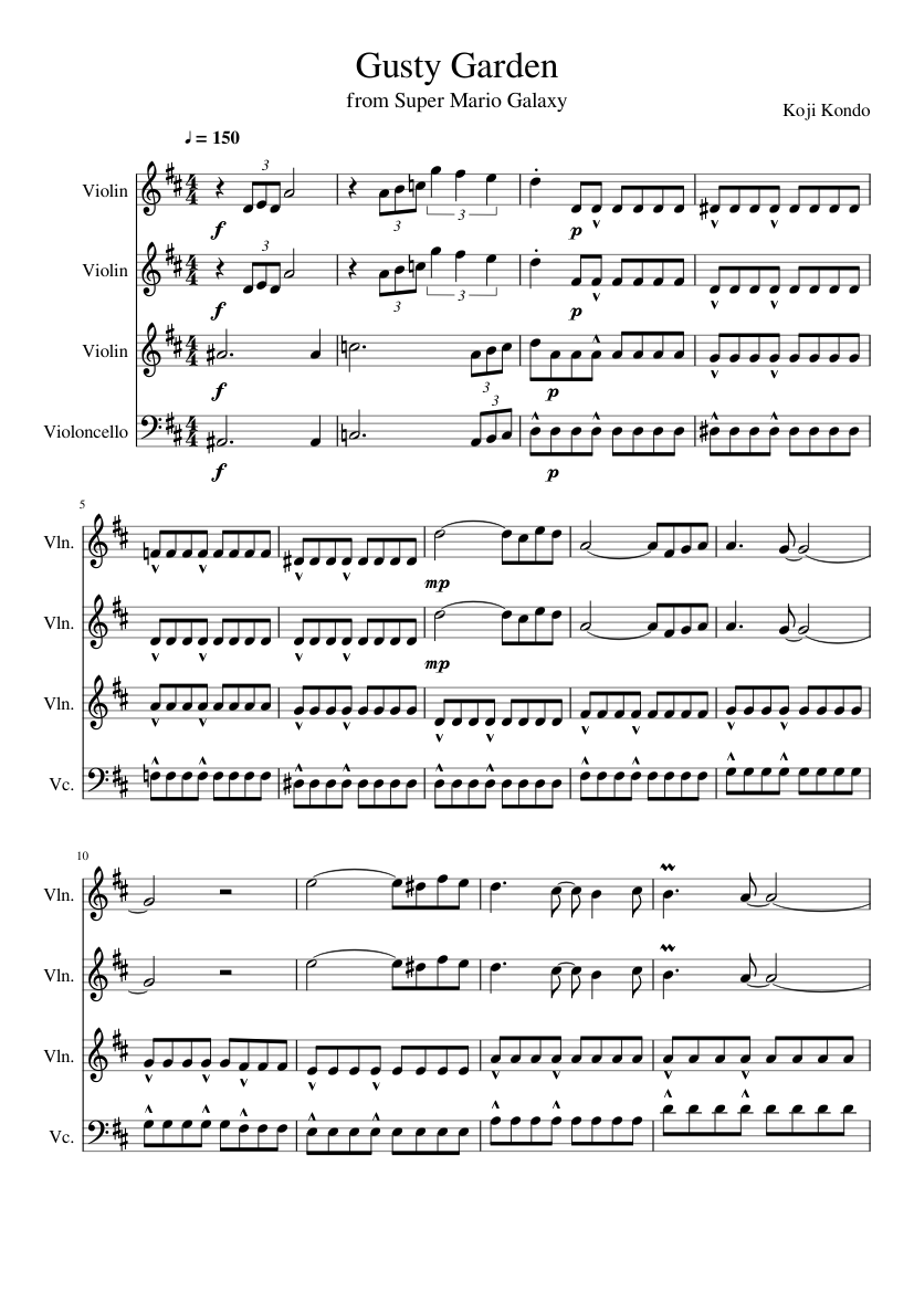 Gusty garden galaxy string quartet sheet music for violin, viola.