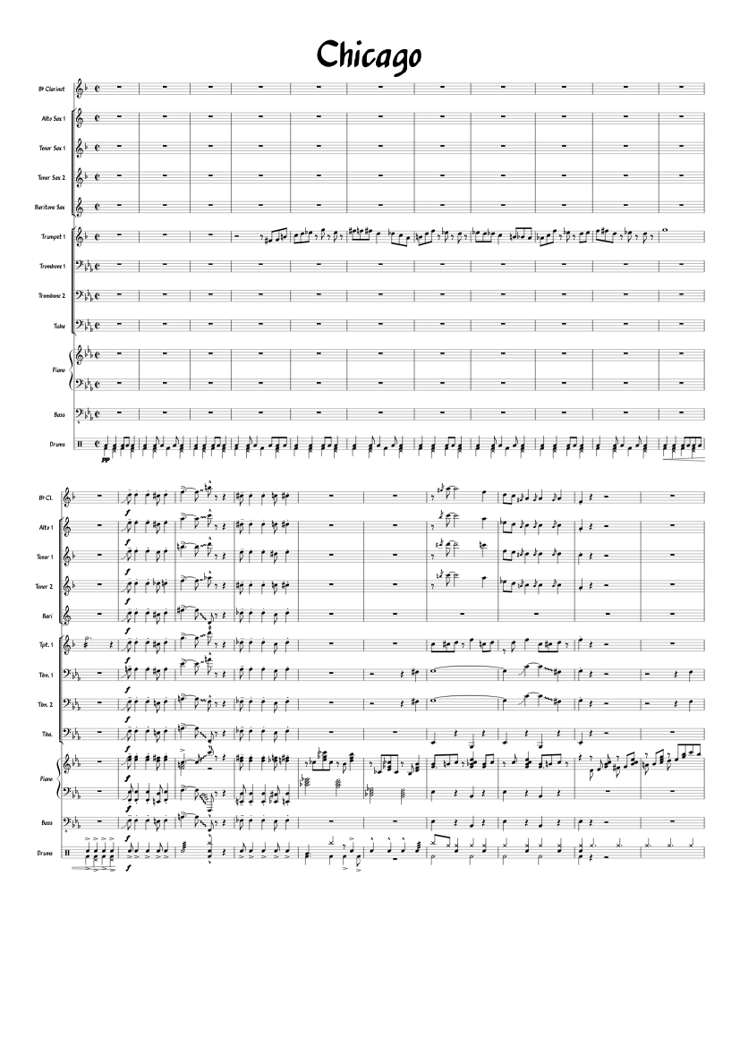 Chicago Overture As A Completed Song Sheet Music For Clarinet