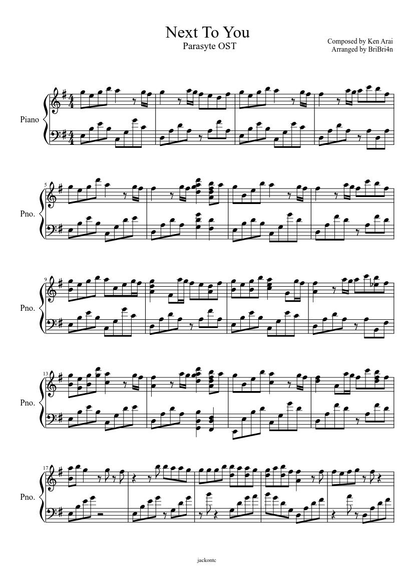 Next To You Parasite OST by Ken Arai Sheet music for Piano Solo ...