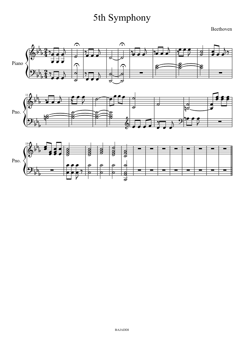 5Th Symphony 5th symphony easy sheet music download free in pdf or midi