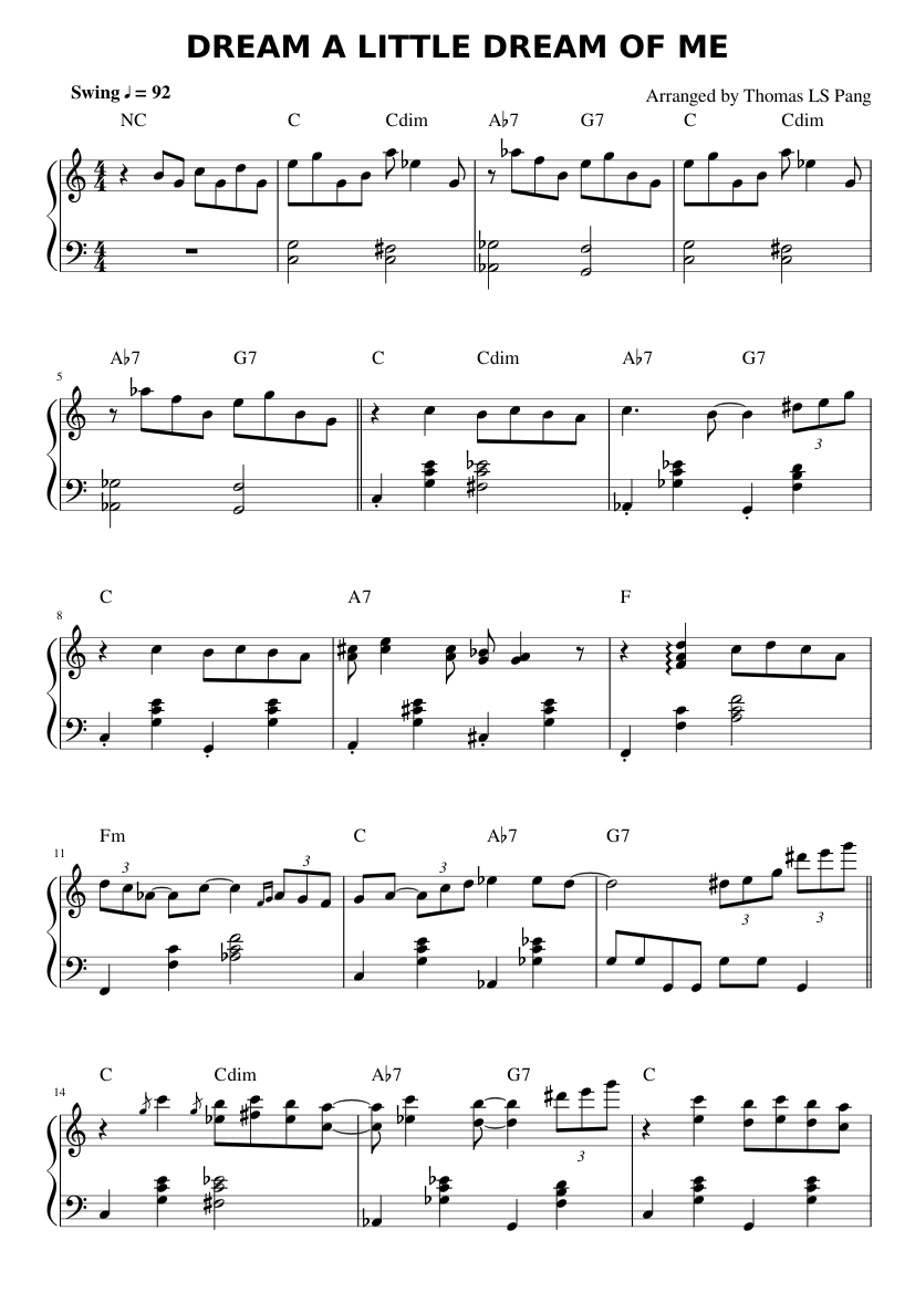 Dream A Little Dream Of Me Sheet Music For Piano Solo Musescore Com