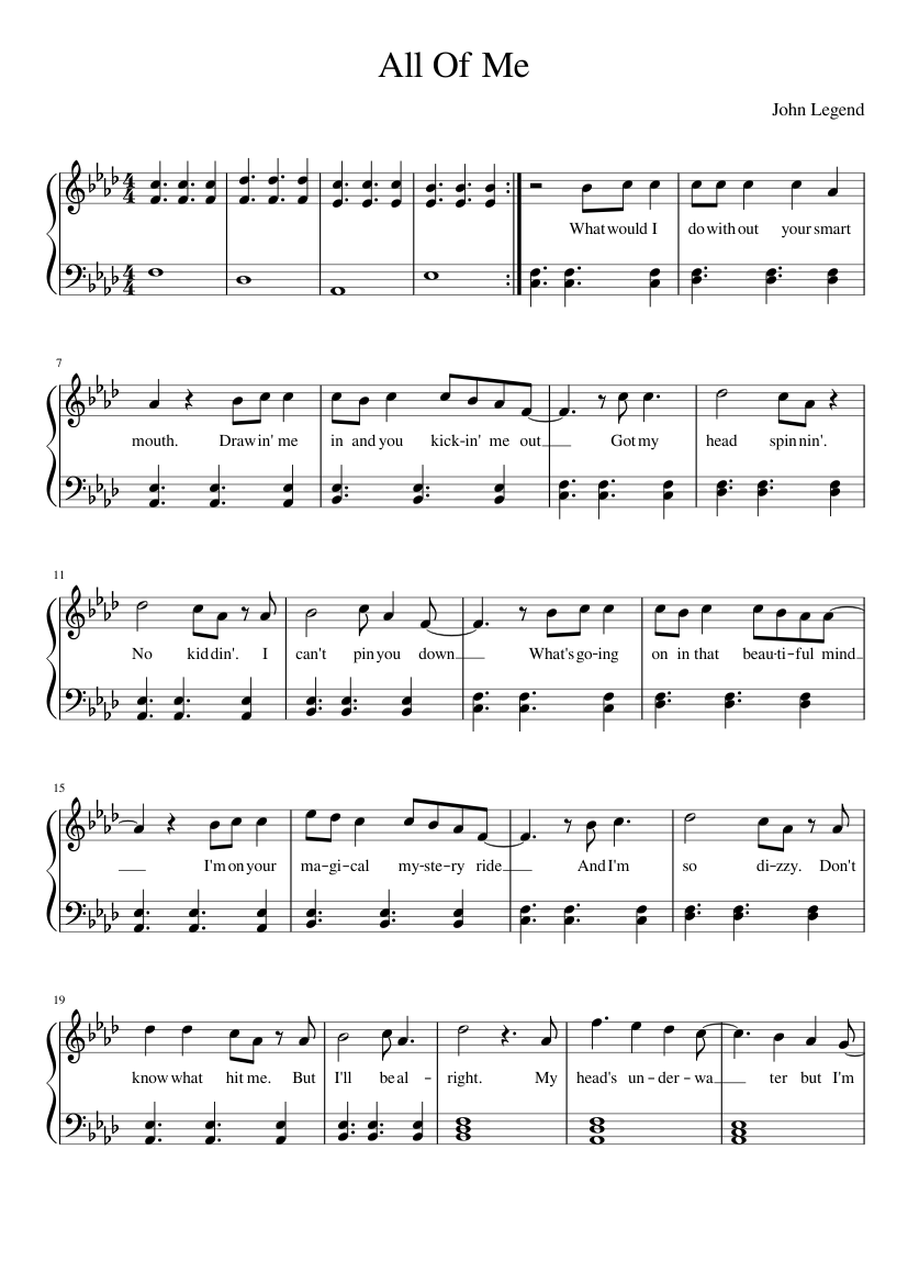 All Of Me Piano Sheet Music all of me sheet music for piano download free in pdf or midi