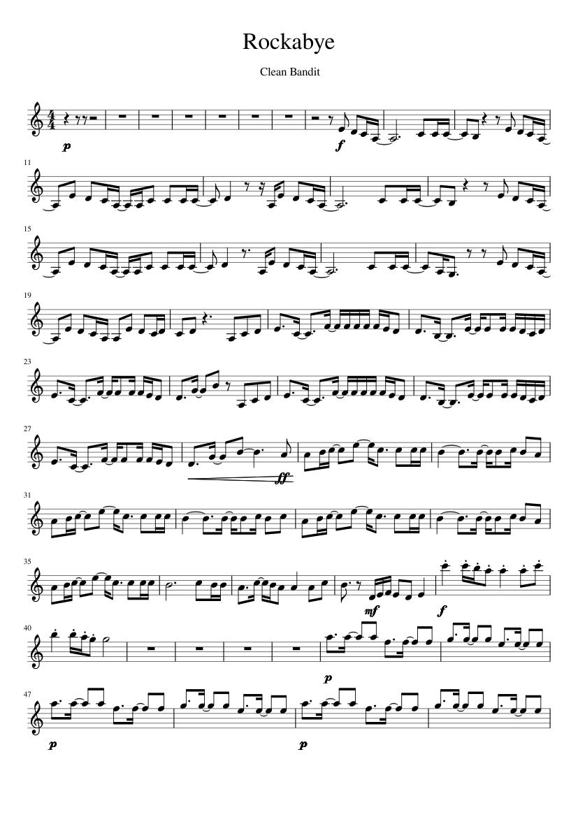 Clean bandit rockabye in d flat major sheet music for piano.