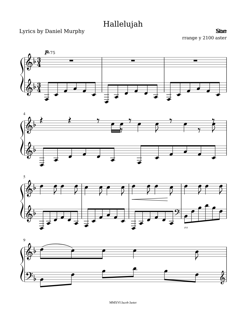Etwas Neues genug Hallelujah sheet music for Piano download free in PDF or MIDI #KH_49
