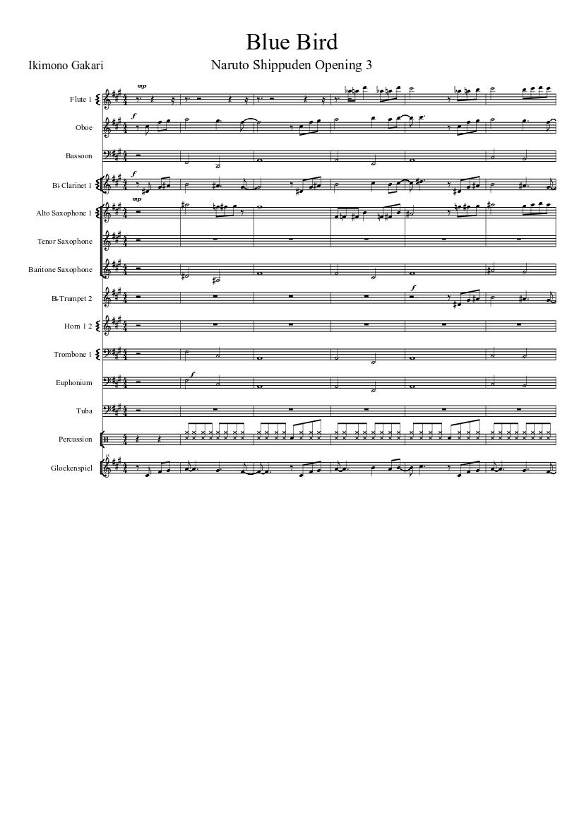 Free blue bird naruto: shippūden piano sheet music tutorial.