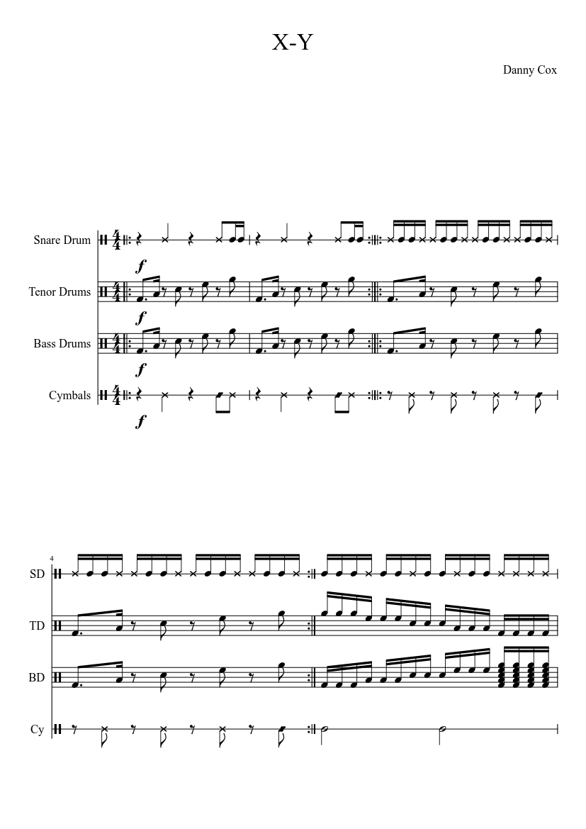 x y drumline cadence sheet music download free in pdf or midi