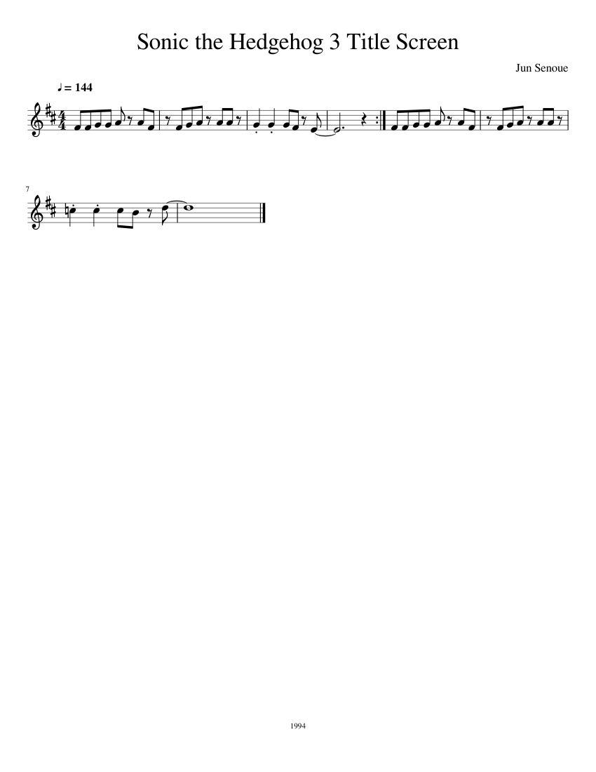 Sonic The Hedgehog 3 Title Screen French Horn Sheet Music For French Horn Solo Musescore Com