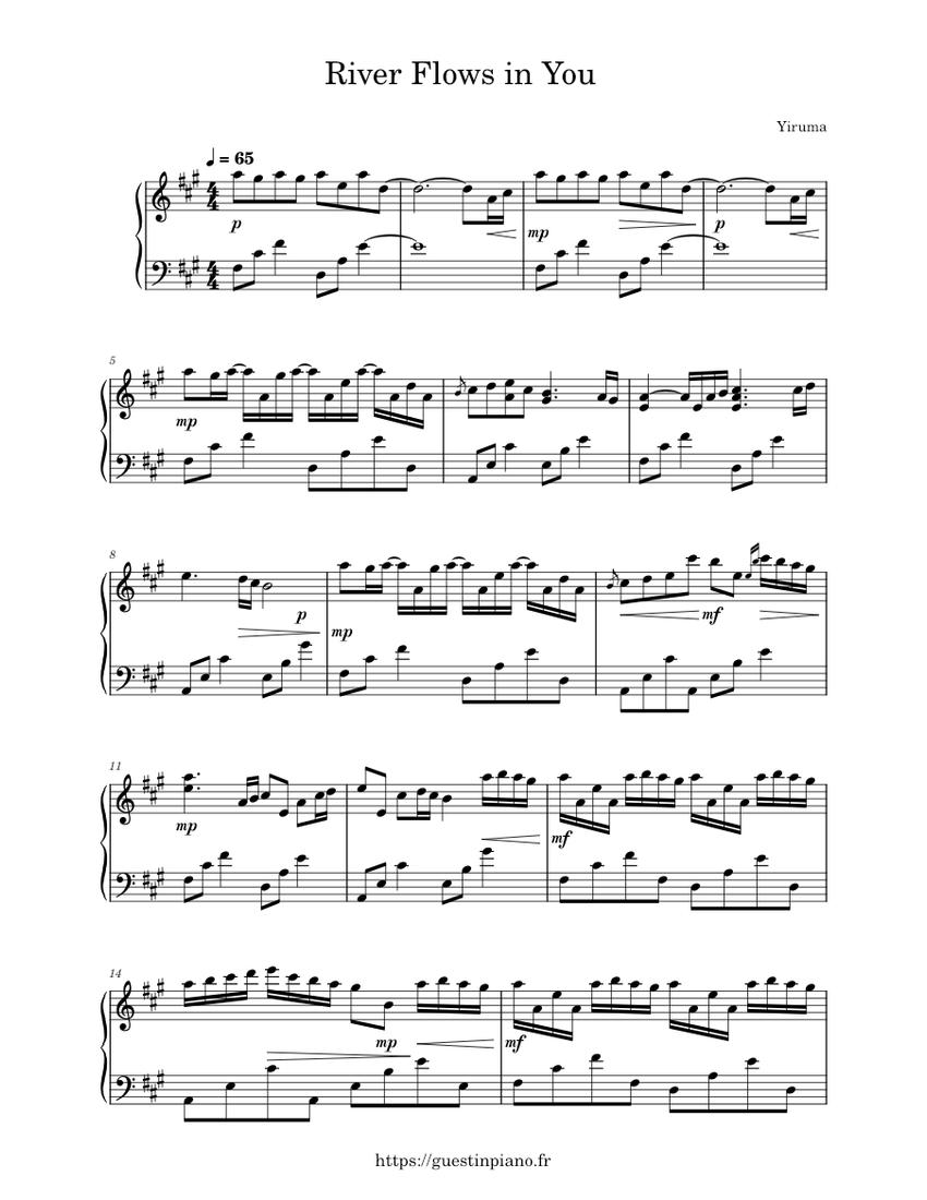River Flows in You - Yiruma Sheet music for Piano (Solo) | Musescore.com
