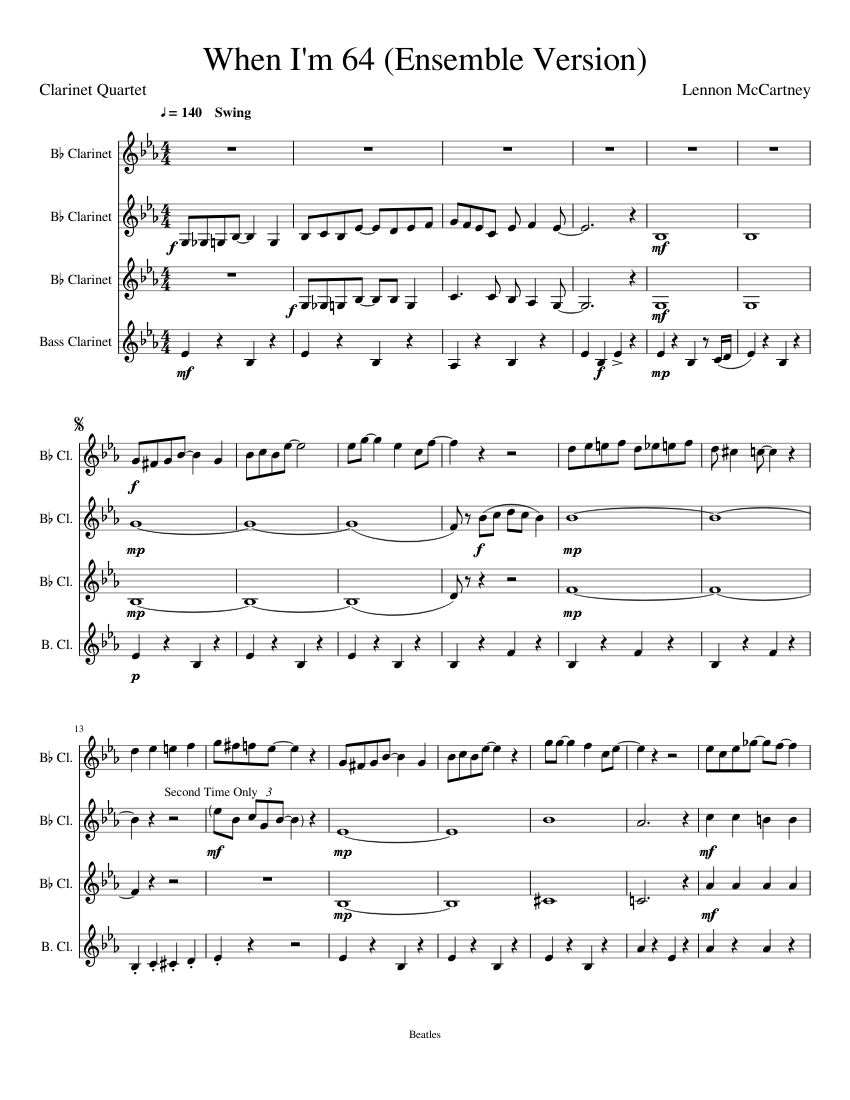 Download when i'm 64 for flute, clarinet, bassoon and guitar sheet.