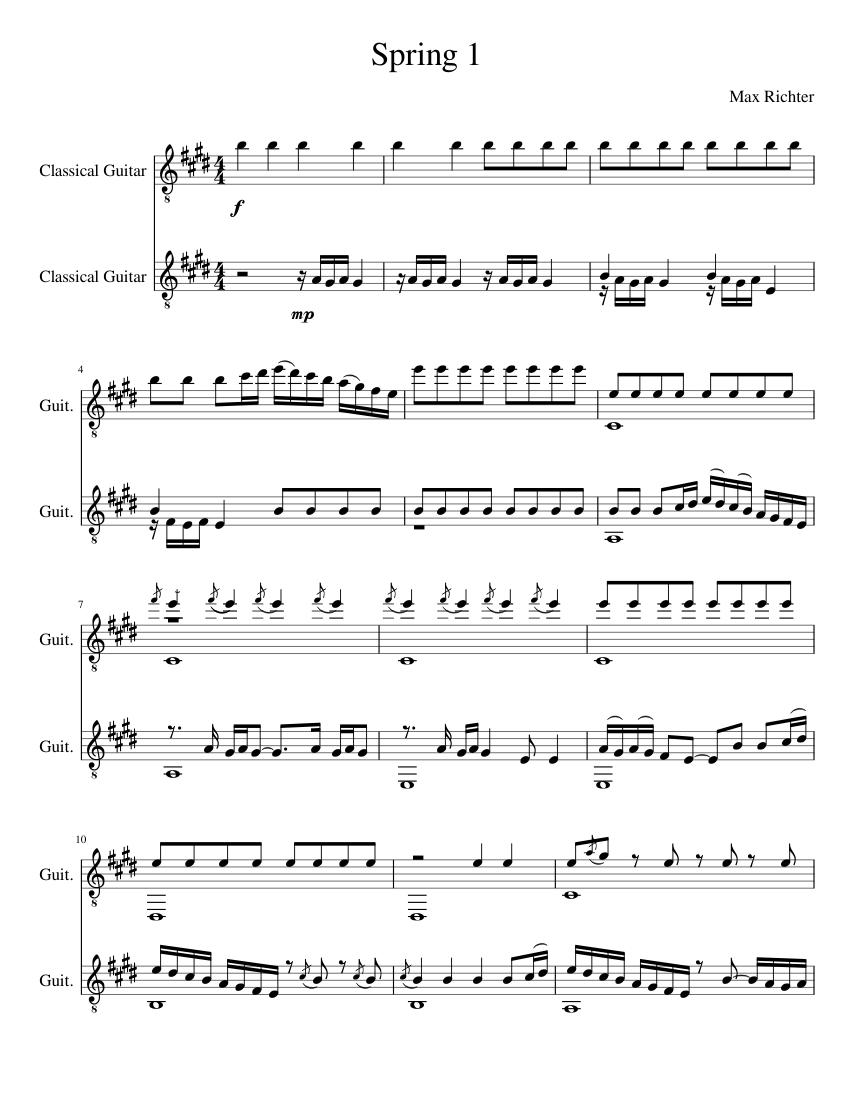 Spring 1 Sheet Music For Guitar Mixed Trio Musescore Com