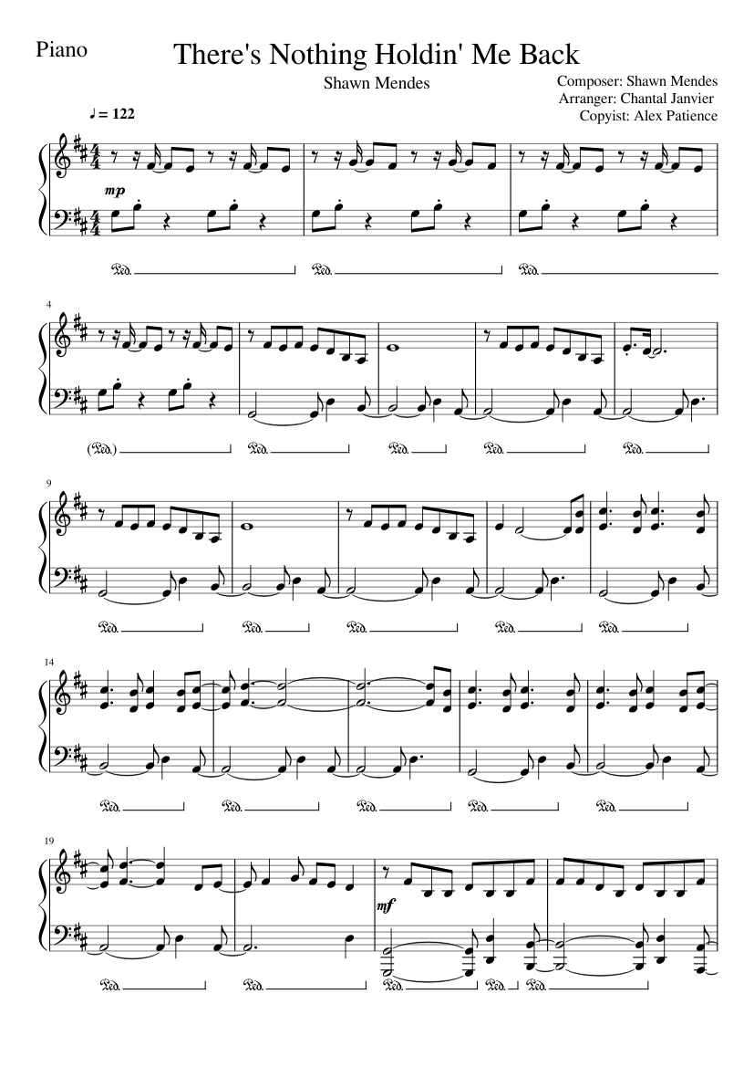 Shawn Mendes There S Nothing Holdin Me Back Piano Tutorial Sheet Music For Piano Solo Musescore Com