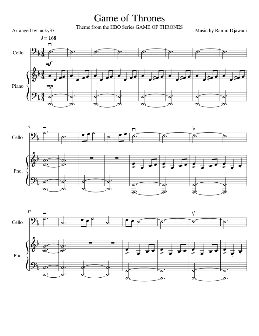 Game Of Thrones Titelmusik Klaviernoten game of thrones sheet music for piano, cello | download free