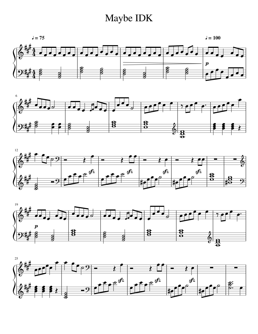 Maybe IDK sheet music for Piano download free in PDF or MIDI