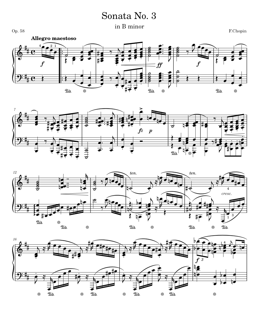 chopin - sonata no. 3, op. 58 : 1st movement sheet music for piano (solo) |  download and print in pdf or midi free sheet music for piano sonata no.3,  op.58 by frédéric chopin (classical ) | musescore.com  musescore.com