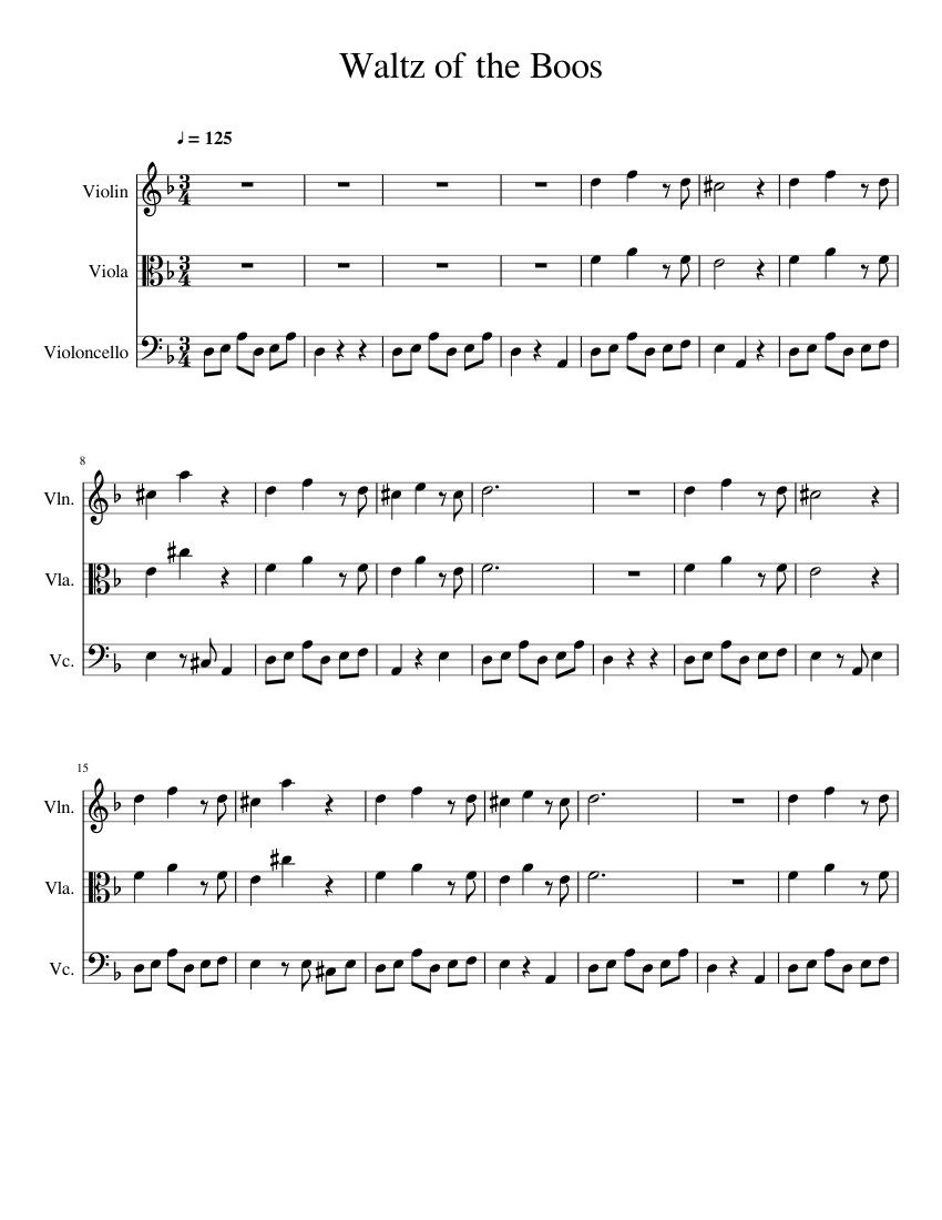 Waltz of the Boos sheet music for Violin, Viola, Cello