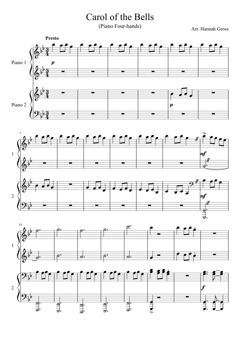 1 piano 4 hands free christmas sheet music