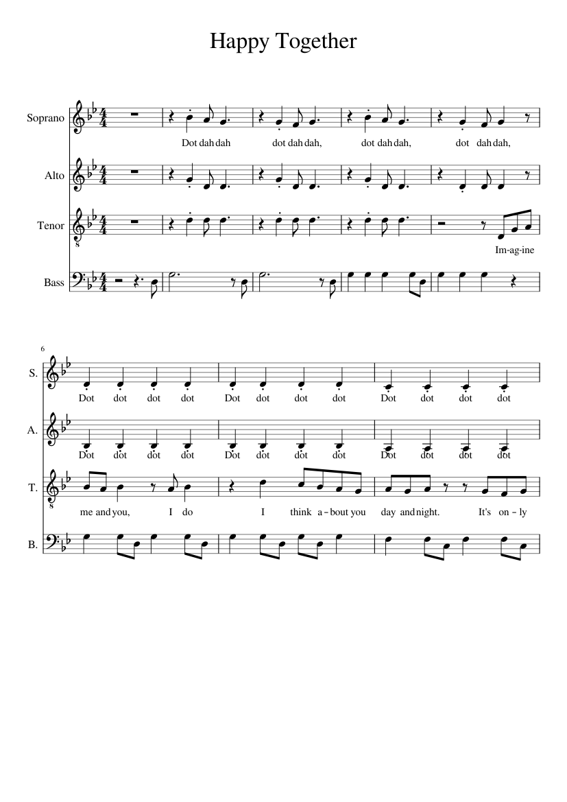Happy together sheet music for voice download free in pdf or midi.
