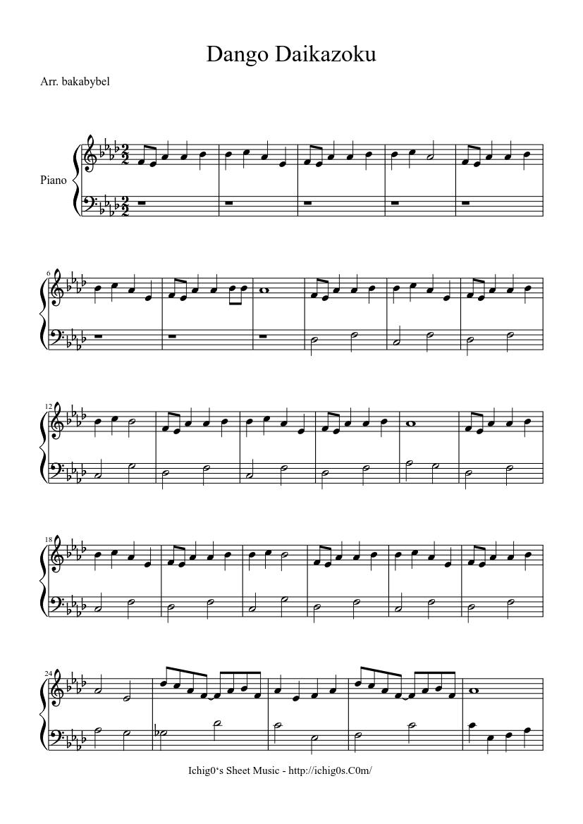 Clannad Dango Daikazoku Sheet Music For Piano Solo Musescore Com
