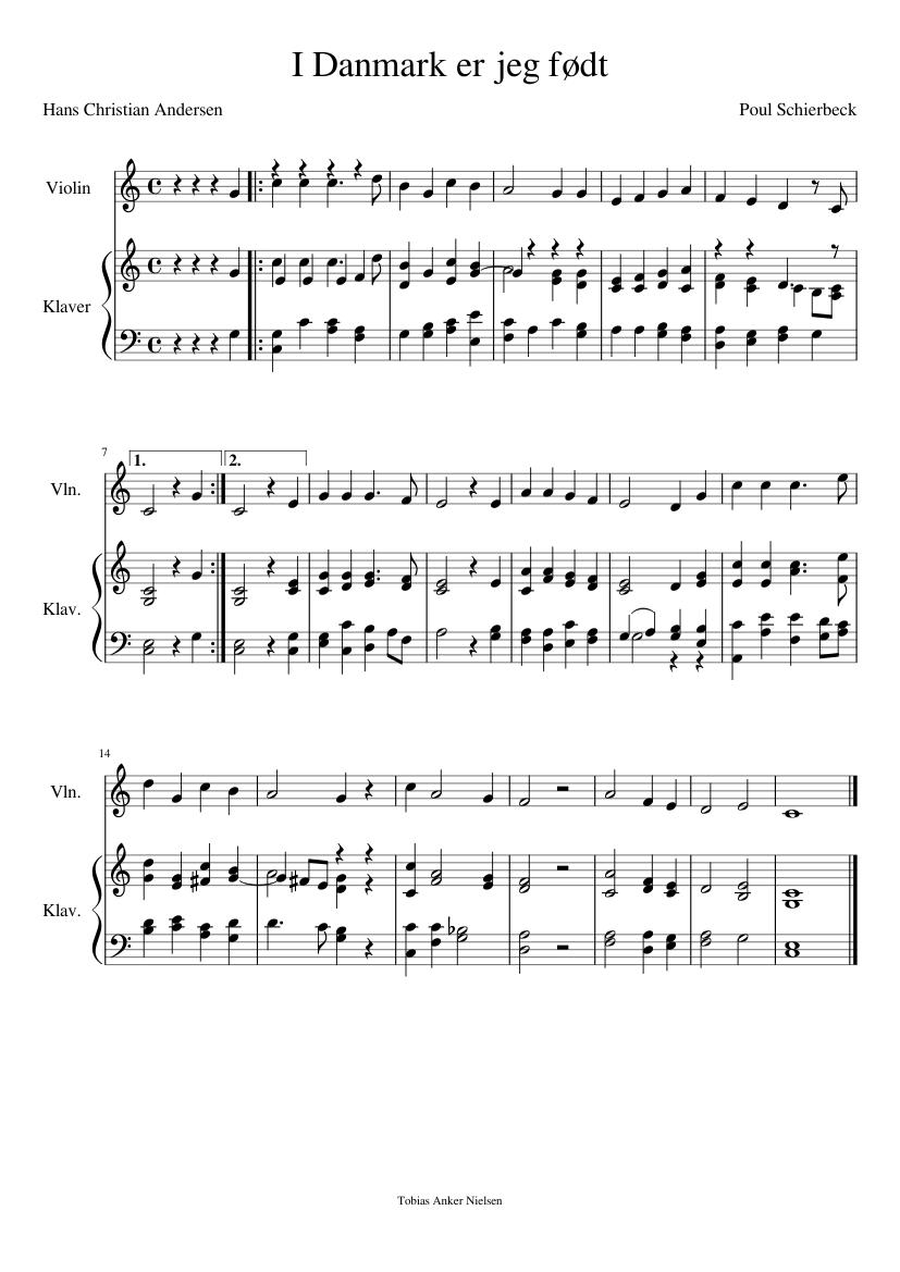 I Danmark er jeg født sheet music for Violin, Piano