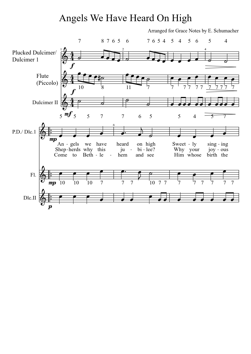 angels we have heard on high sheet music for flute, harp (mixed trio) |  download and print in pdf or midi free sheet music with lyrics |  musescore.com  musescore.com