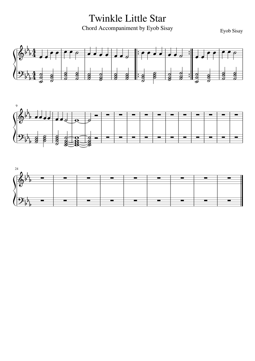 Twinkle Twinkle Little Star with accompaniment Sheet music for ...