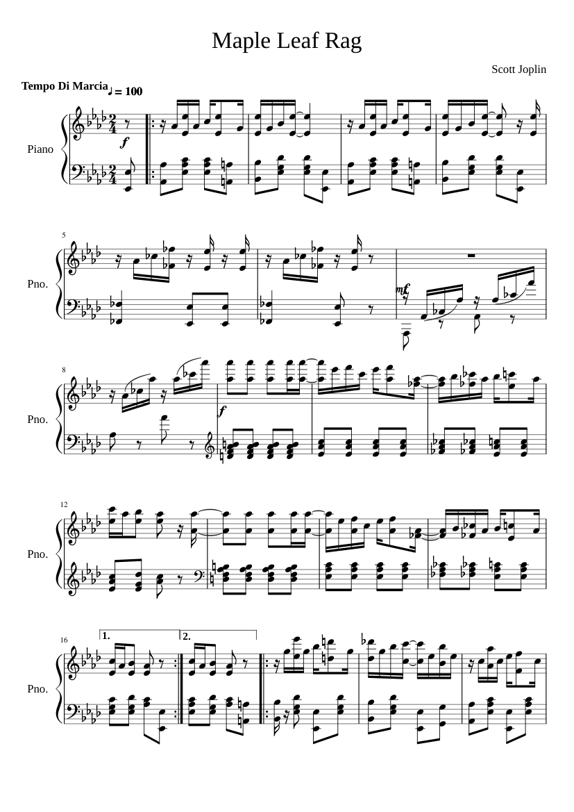 maple leaf rag (scott joplin) sheet music for piano (solo) | musescore.com  musescore.com