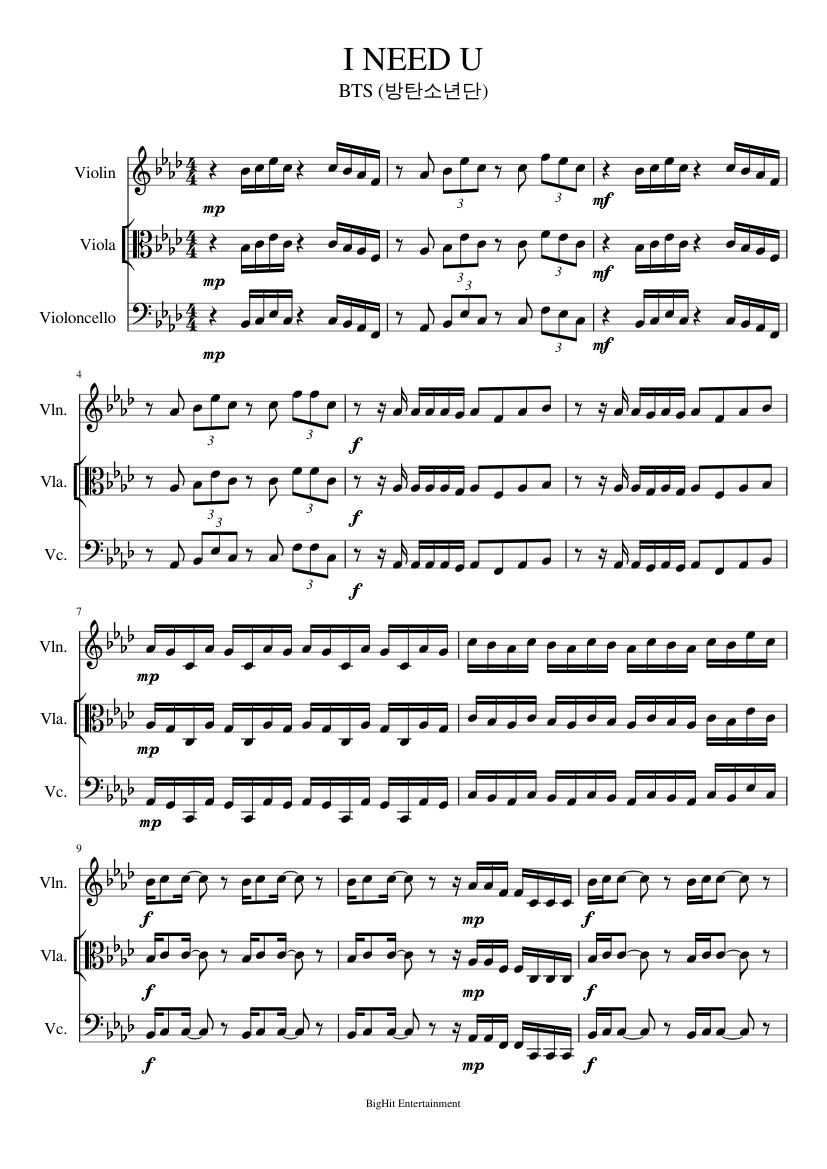 Bts I Need U Sheet Music For Viola Download Free In Pdf Or