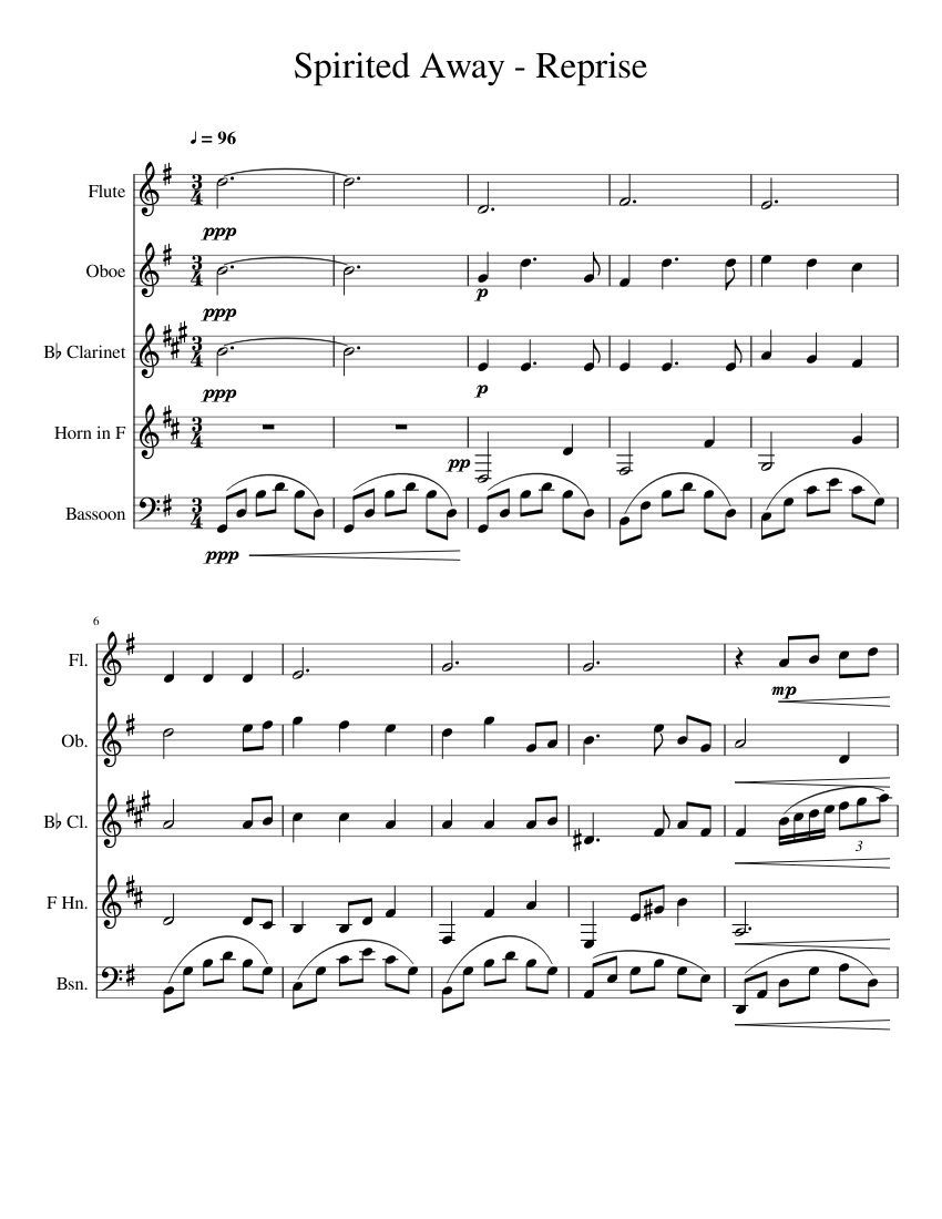 spirited away - reprise sheet music for flute, clarinet (in b flat), french  horn, oboe & more instruments (woodwind quintet) | musescore.com  musescore.com