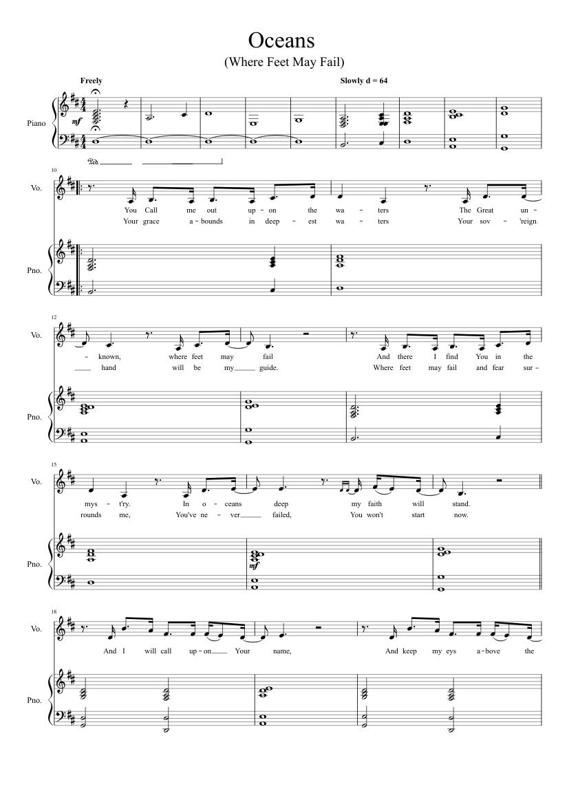 Oceans Sheet music for Piano Solo   Musescore.com