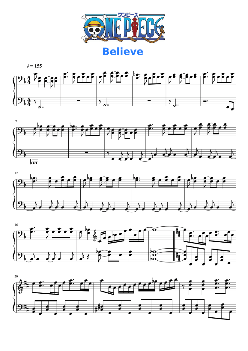 One Piece - Opening 2 - Believe sheet music for Piano ...