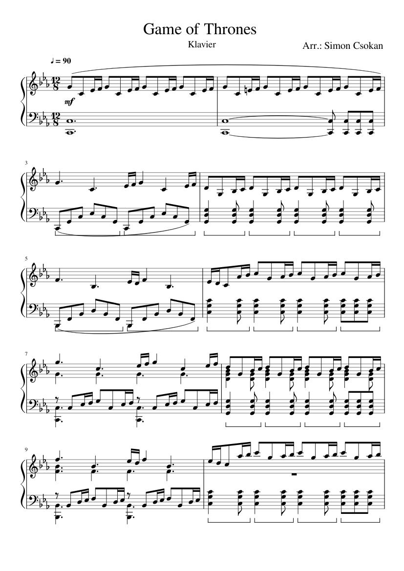 Game Of Thrones Titelmusik Klaviernoten game of thrones - difficult piano version sheet music for