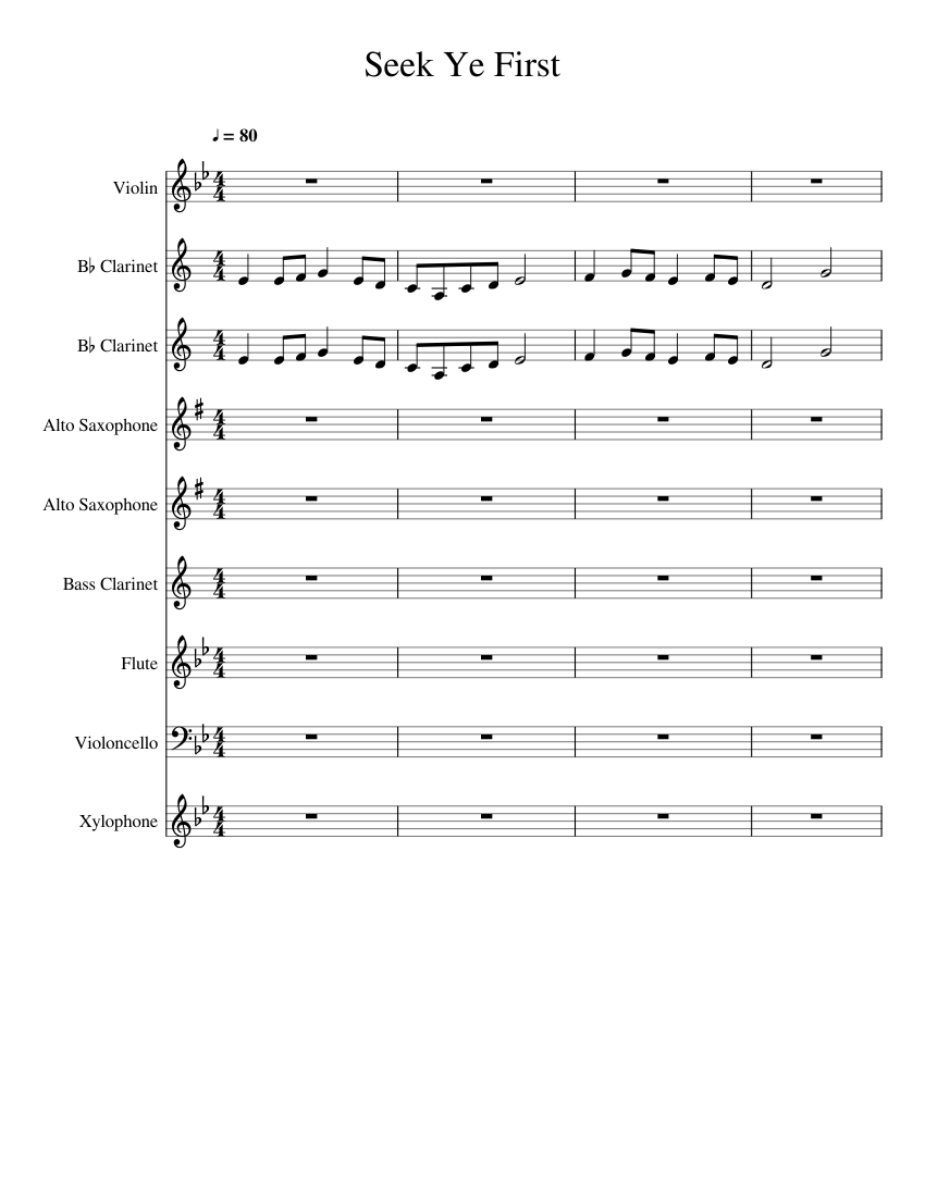 Seek ye first sheet music for piano, flute, oboe, english horn.