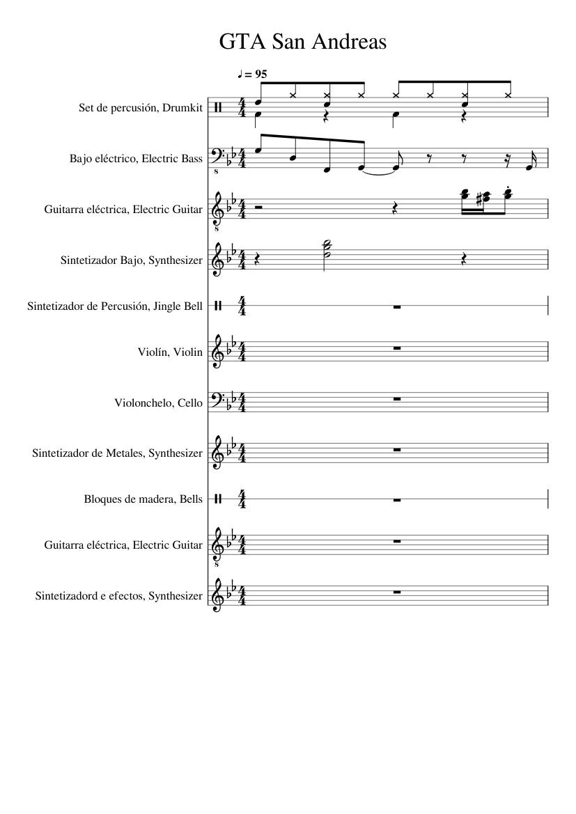 Gta san andreas (main theme) sheet music for violin, percussion.
