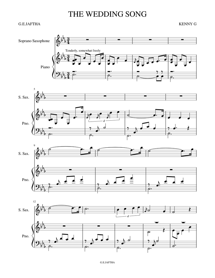 The Wedding Song Sheet Music For Piano Saxophone Soprano Solo Musescore Com - Wedding Song, G The Wedding Song Sheet Music For Piano Solo Pdf Interactive