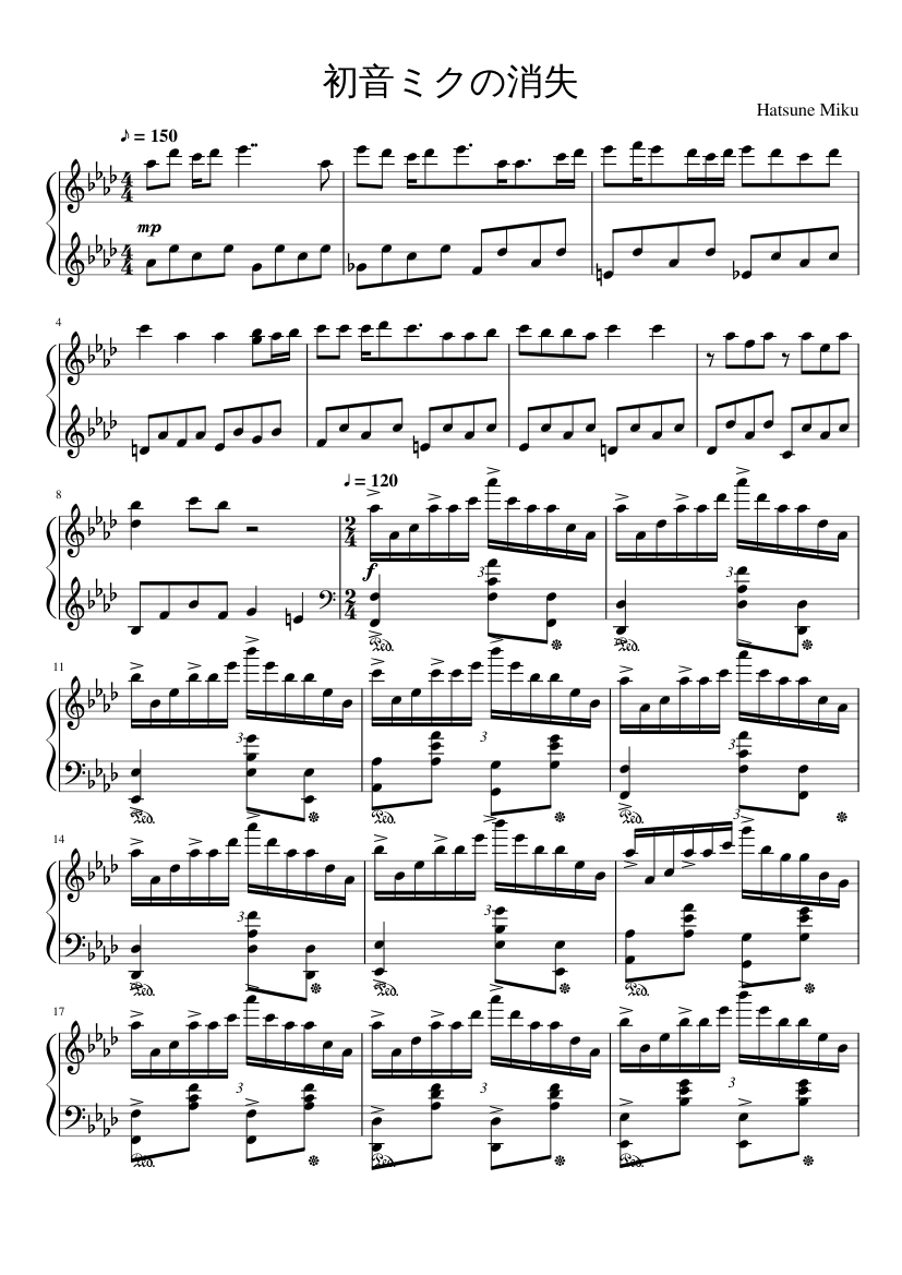 ??????? sheet music composed by Hatsune Miku – 1 of 6 pages