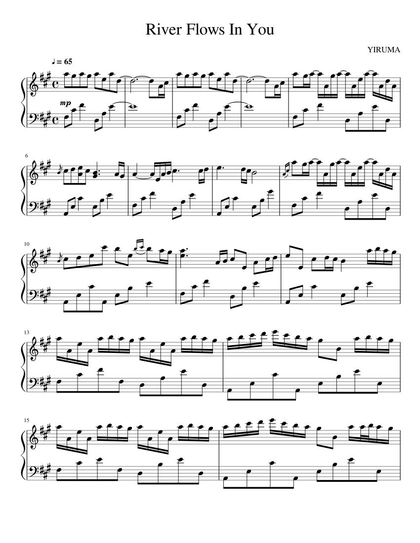River flows in you by yiruma piano sheet music   sheetdownload.