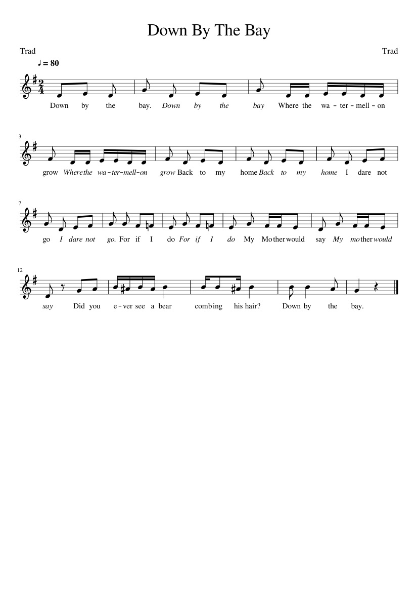 down by the bay sheet music for piano (solo)   download and print in pdf or  midi free sheet music with lyrics   musescore.com  musescore.com