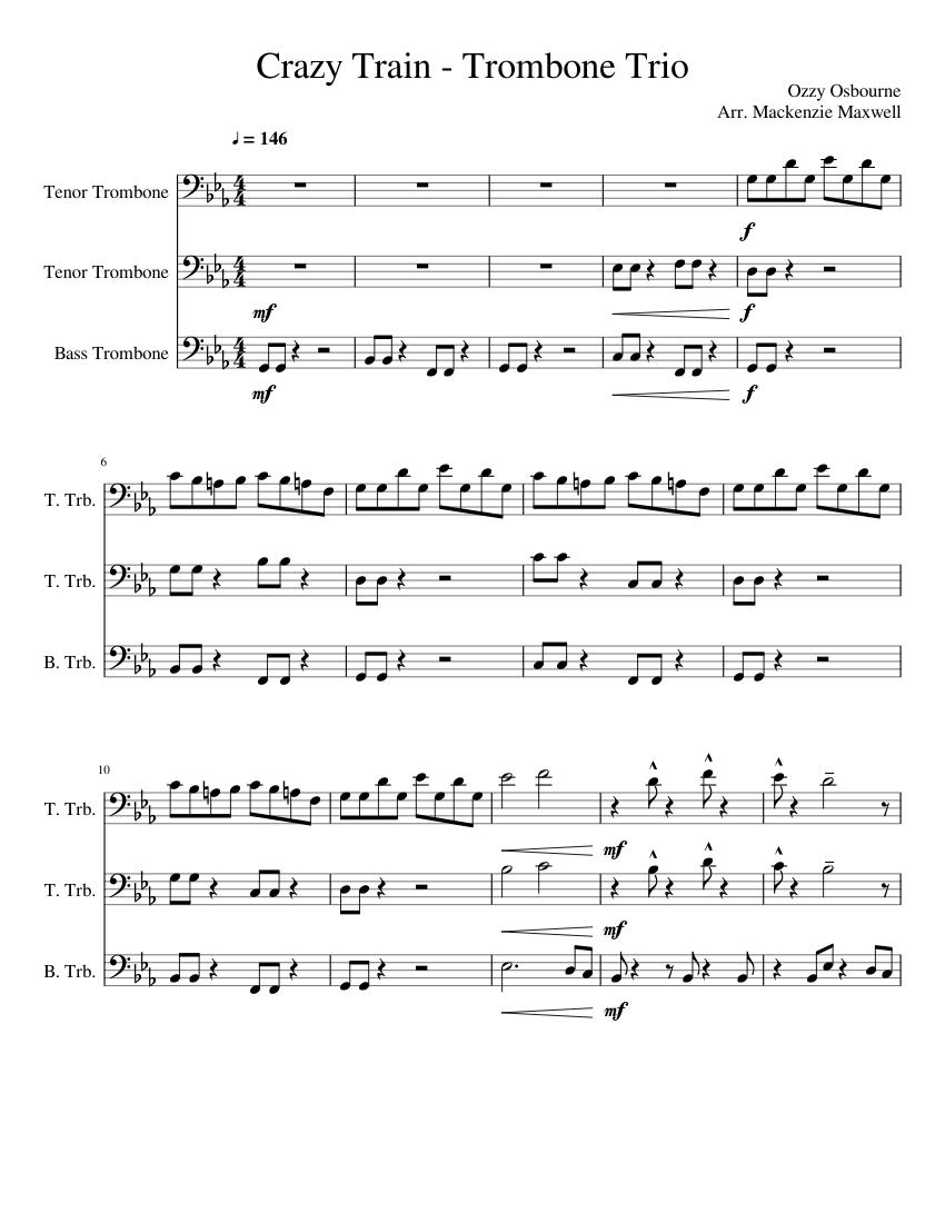 Crazy Train- Trombone Trio (reuploaded out of spite) - piano tutorial