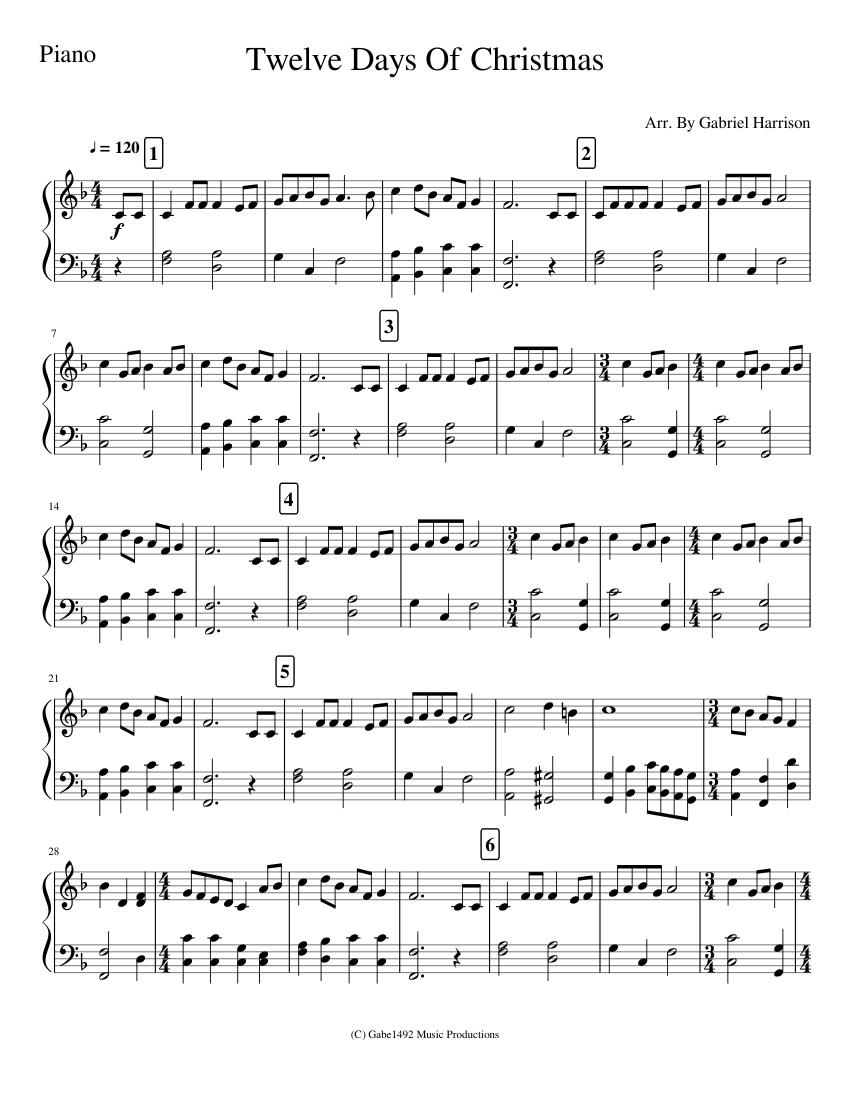 Twelve Days Of Christmas sheet music download free in PDF or MIDI