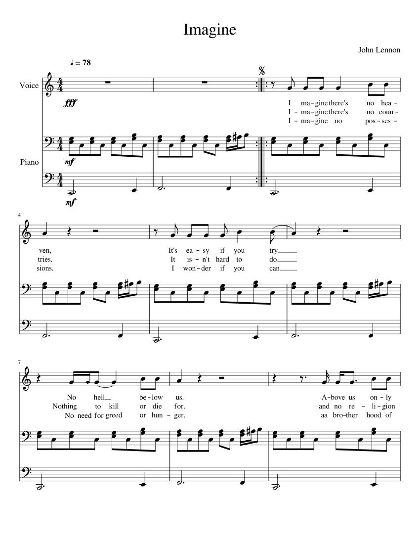 imagine john lennon piano notes free
