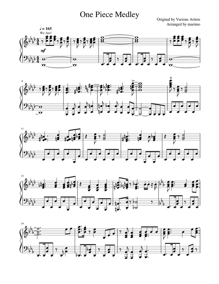 One Piece Medley Sheet Music For Piano Solo Musescore Com