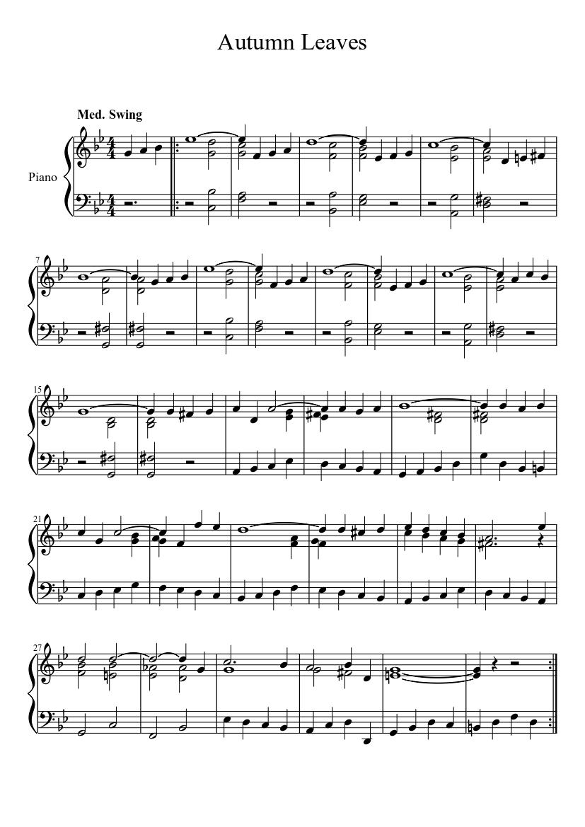 "David magyel ""autumn leaves [advanced]"" sheet music (piano solo."