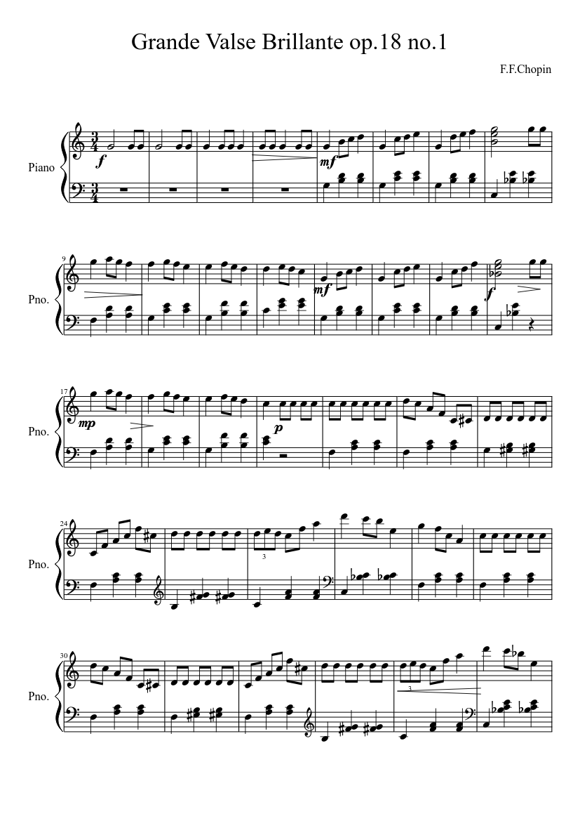 Grande Valse Brillante, Op. 18 by Frédéric Chopin sheet music arranged by TheSymphonyOfMusic for Solo – 1 of 2 pages