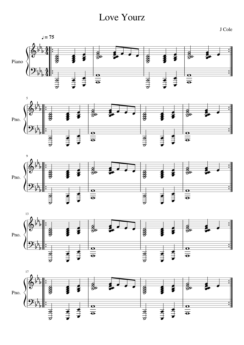 Game Of Love Sheets love yourz - j cole (piano cover) sheet music for piano
